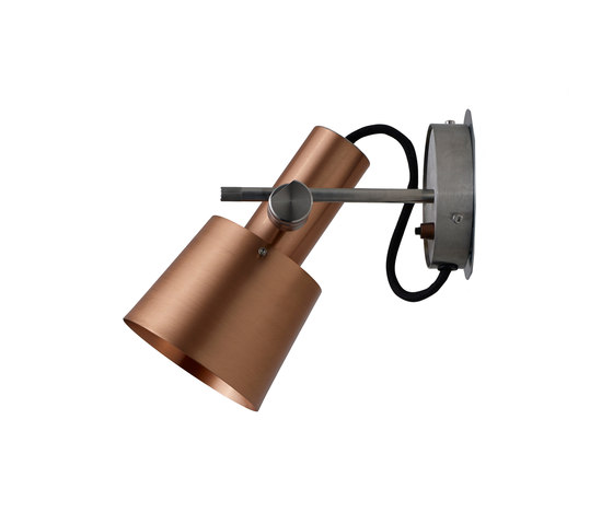 Chester Wall Light, Satin Copper, Black Braided Cable by Original BTC | Wall lights