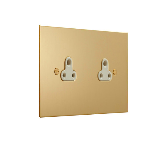 Unlacquered Brass double 2amp socket di Forbes & Lomax | Prese inglesi