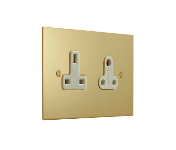 Unlacquered Brass double 13amp and 5amp socket di Forbes & Lomax | Prese inglesi