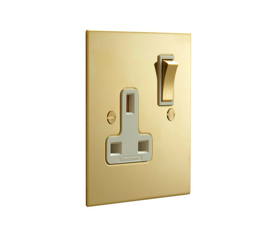 Unlacquered Brass single 13amp socket by Forbes & Lomax | British sockets