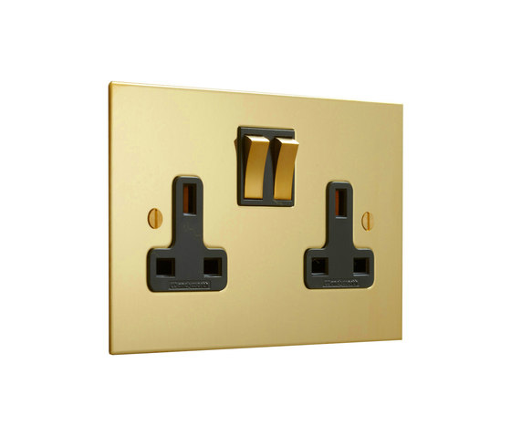 Unlacquered Brass double 13amp socket with black insert by Forbes & Lomax | British sockets