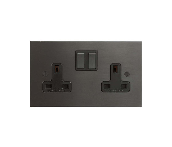 Antique Bronze double 13amp socket by Forbes & Lomax | British sockets