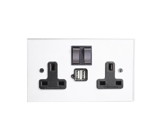 Invisible double 13amp socket with USB by Forbes & Lomax | British sockets