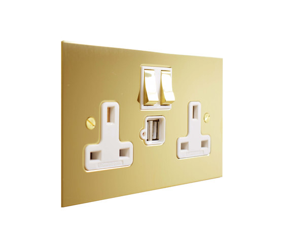 Unlacquered Brass double 13amp socket with USB by Forbes & Lomax | British sockets