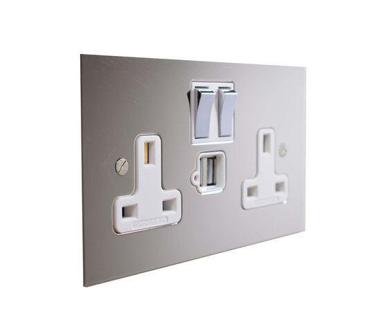 Nickel Silver double 13amp socket with USB by Forbes & Lomax | British sockets