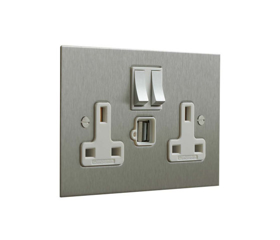 Stainless Steel double 13amp socket with USB by Forbes & Lomax | British sockets