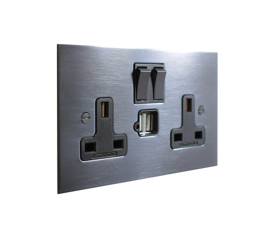 Antique Bronze double 13amp socket with USB by Forbes & Lomax | British sockets