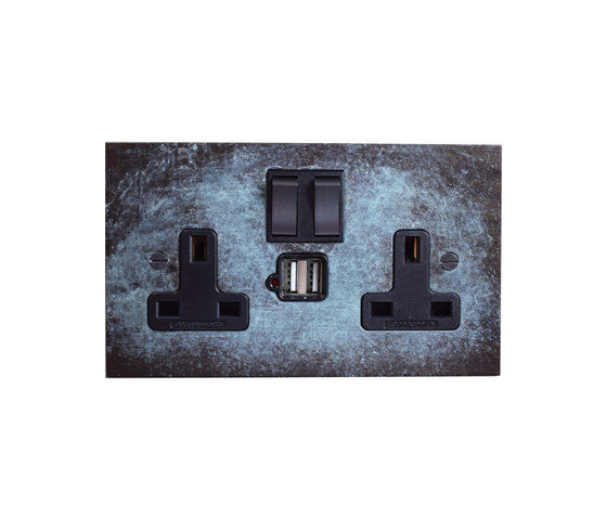Verdigris double 13amp socket with USB by Forbes & Lomax | British sockets