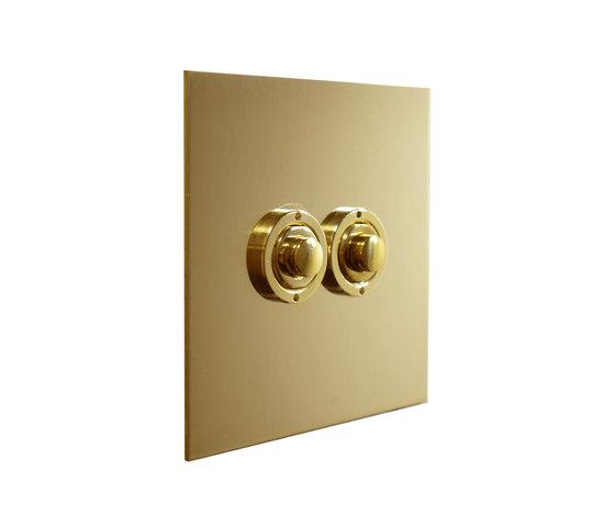 Unlacquered Brass two gang button dimmer di Forbes & Lomax | interuttori pulsante