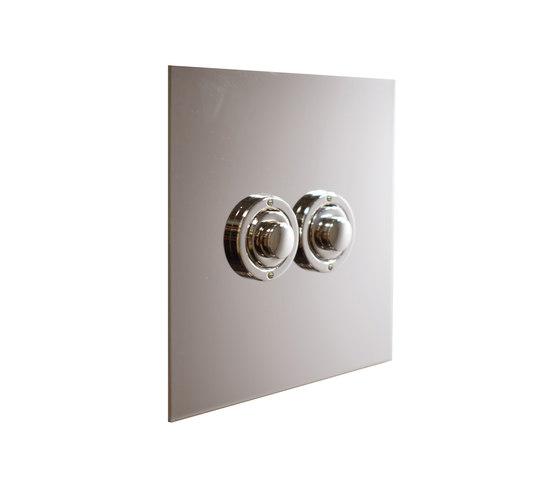 Nickel Silver two gang button dimmer di Forbes & Lomax | interuttori pulsante