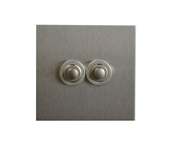 Stainless Steel two gang button dimmer di Forbes & Lomax | interuttori pulsante
