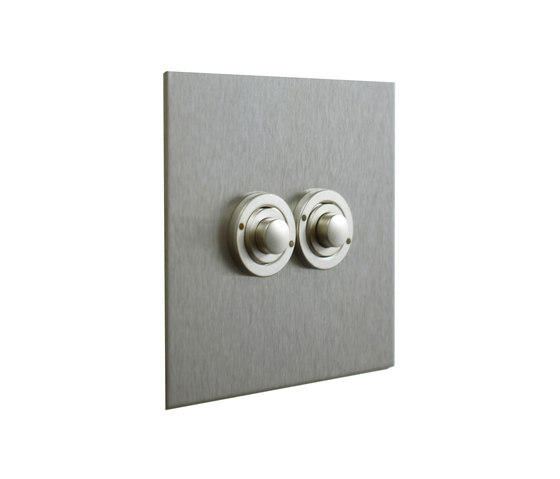 Stainless Steel two gang button dimmer de Forbes & Lomax | Interruptores pulsadores
