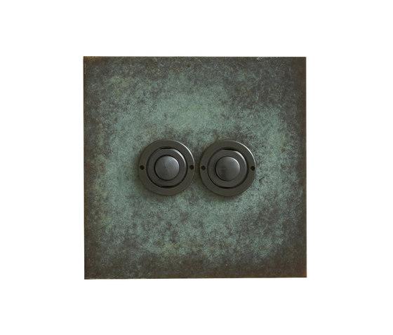 Verdigris two gang button dimmer di Forbes & Lomax | interuttori pulsante