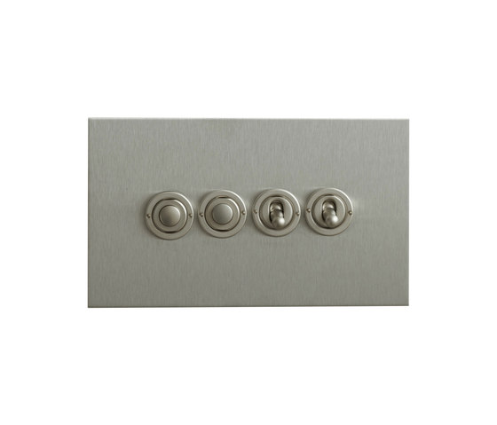 Stainless Steel four gang dolly and button dimmer di Forbes & Lomax | interuttori pulsante