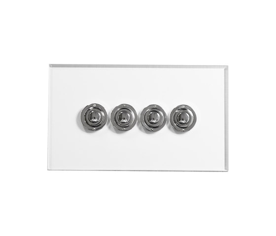 Invisible Lightswitch® with four gang Nickel button dimmer di Forbes & Lomax | interuttori pulsante
