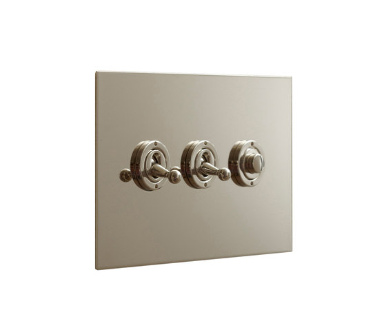 Nickel Silver three gang dolly and button dimmer di Forbes & Lomax | Interruttori leva