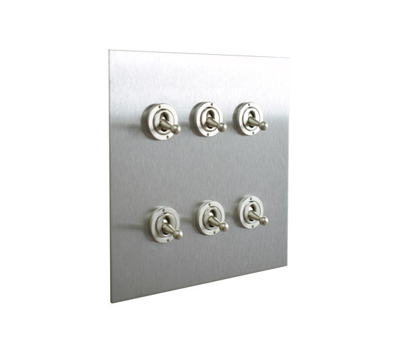 Stainless Steel six gang dolly switch by Forbes & Lomax | Toggle switches