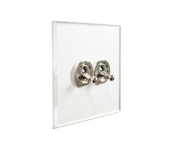 Invisible Lightswitch® with Nickel Silver two gang dolly di Forbes & Lomax | Interruttori leva