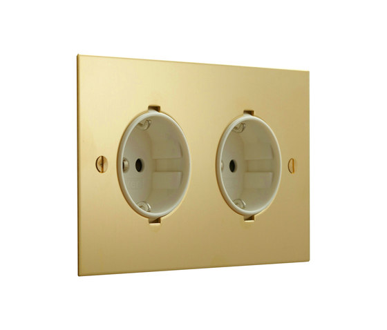Unlacquered Brass double German socket di Forbes & Lomax | Prese Schuko