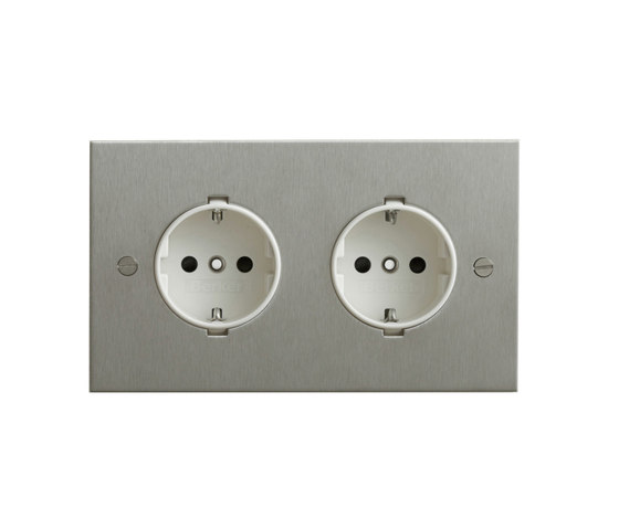 Stainless Steel double German socket di Forbes & Lomax | Prese Schuko