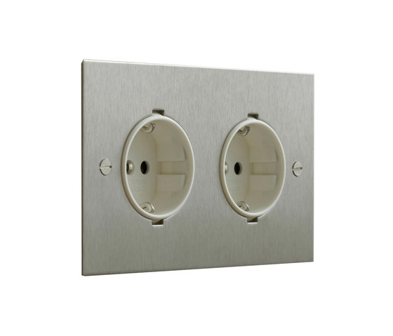 Stainless Steel double German socket by Forbes & Lomax | Schuko sockets
