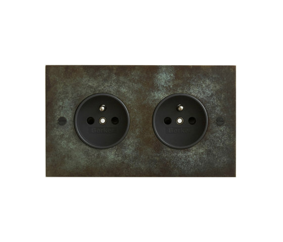 Verdigris double French socket by Forbes & Lomax | Schuko sockets