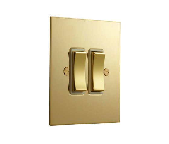 Unlacquered Brass two gang rocker switch by Forbes & Lomax | Two-way switches