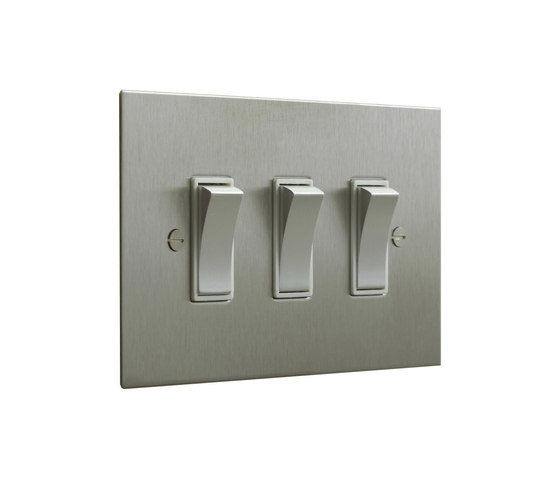 Stainless Steel three gang rocker switch by Forbes & Lomax   Two-way switches