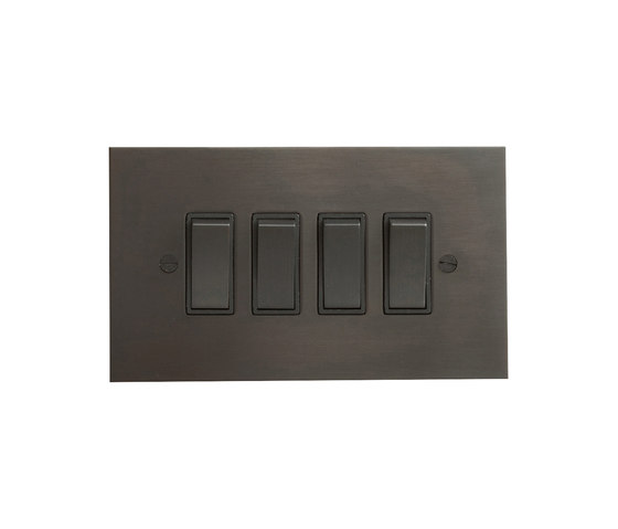 Antique Bronze four gang rocker switch di Forbes & Lomax | Interruttore bilanciere