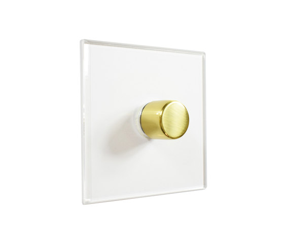 Invisible Lightswitch® with Unlacquered Brass rotary dimmer by Forbes & Lomax | Rotary switches