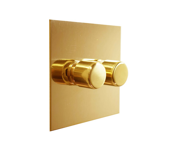 Unlacquered Brass two gang rotary dimmer di Forbes & Lomax | Interruttori manopola