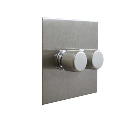 Stainless Steel two gang rotary dimmer by Forbes & Lomax | Rotary switches