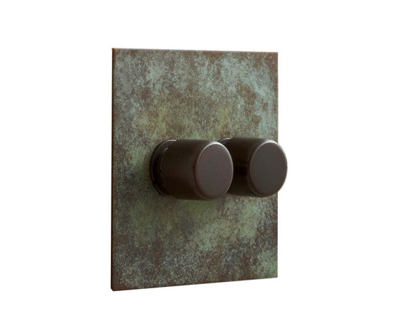 Verdigris two gang rotary dimmer by Forbes & Lomax   Rotary switches