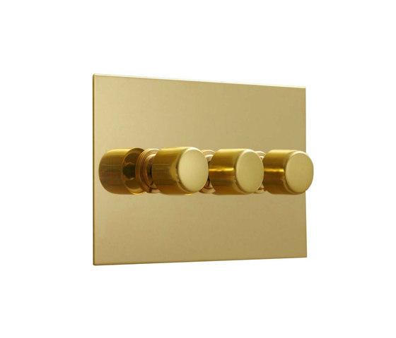 Unlacquered Brass three gang rotary dimmer di Forbes & Lomax | Interruttori manopola