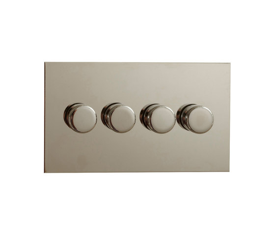 Nickel Silver four gang rotary dimmer by Forbes & Lomax | Rotary switches
