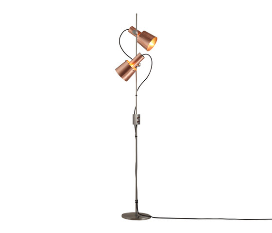 Chester Floor Light, Satin Copper, Black Braided Cable by Original BTC | Free-standing lights