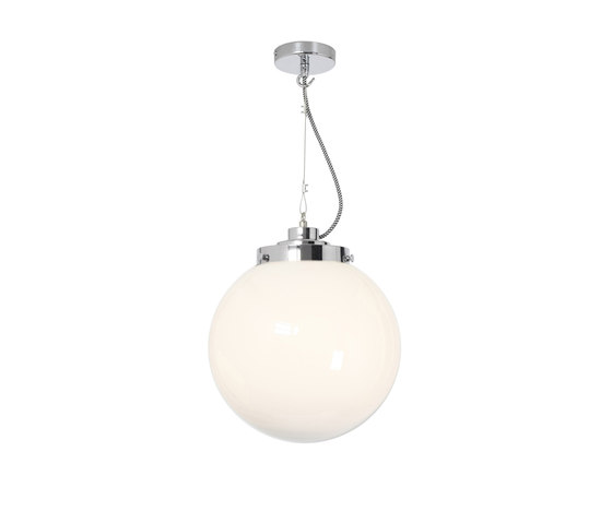 Medium Globe, Opal and chrome with black & white braided cable by Original BTC | Suspended lights