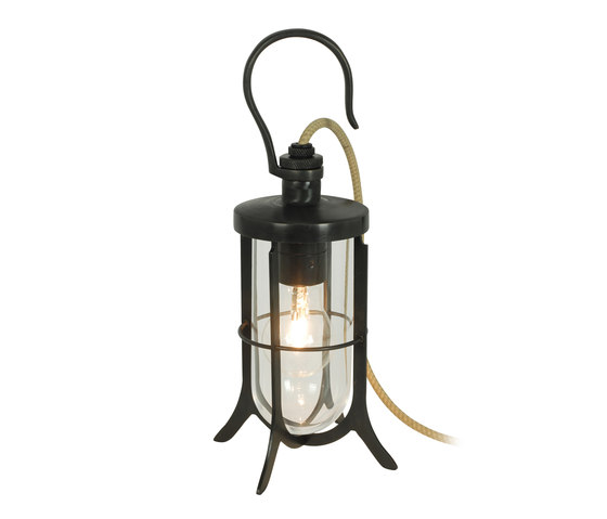 Ship's Hook Light, Clear Glass, Weathered Brass di Original BTC | Lampade tavolo