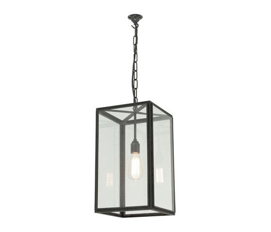 7639 Medium Square Pendant, External Glass, Weathered Brass, Clear Glass de Original BTC   Suspensions