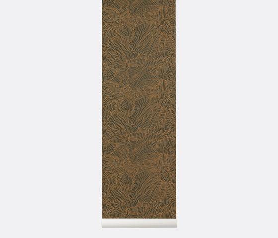 Wallpaper Coral - Dark Green/Gold de ferm LIVING | Revestimientos de paredes / papeles pintados