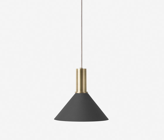 Socket Pendant Low - Brass | Cone Shade - Black by ferm LIVING | Suspended lights
