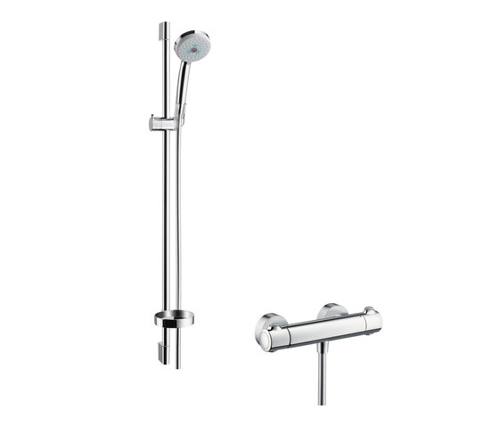 hansgrohe Ecostat 1001 SL Combi Set 0.90 m with Croma 100 Multi 3jet hand shower by Hansgrohe | Shower controls