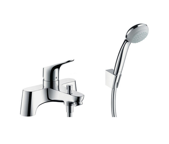 hansgrohe Focus 2-hole rim mounted bath mixer with diverter valve and Crometta 85 1jet hand shower by Hansgrohe | Bath taps