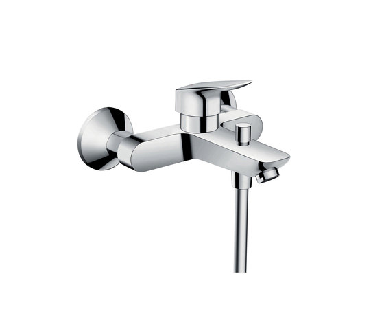 hansgrohe Logis Single lever bath mixer for exposed installation with Eco ceramic cartridge (with 2 flow rates) by Hansgrohe | Bath taps