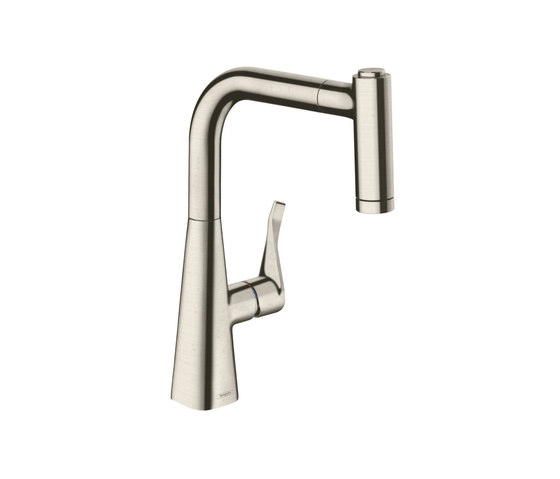 hansgrohe Metris Single lever kitchen mixer 220 with pull-out spray by Hansgrohe | Kitchen taps