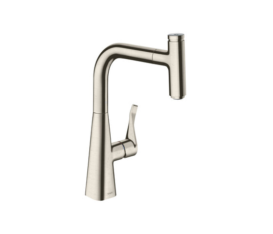 hansgrohe Metris Select Single lever kitchen mixer 240 with pull-out spout by Hansgrohe | Kitchen taps