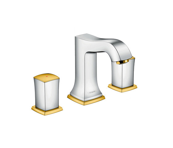 hansgrohe Metropol Classic 3-hole basin mixer 110 with zero handle, with pop-up waste set by Hansgrohe | Wash basin taps
