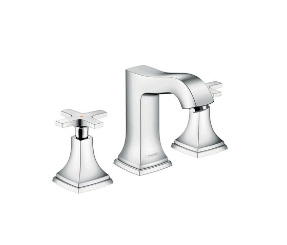 hansgrohe Metropol Classic 3-hole basin mixer 110 with cross handle, with pop-up waste set by Hansgrohe | Wash basin taps