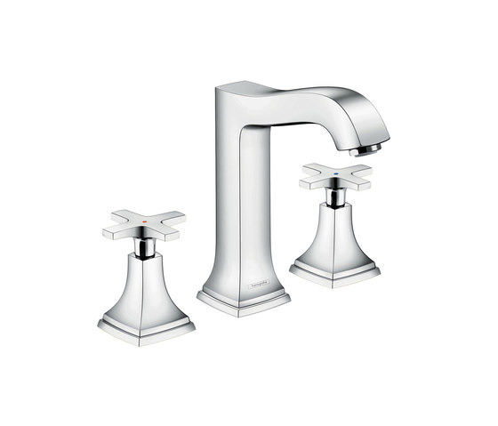 hansgrohe Metropol Classic 3-hole basin mixer 160 with cross handle, with pop-up waste set by Hansgrohe   Wash basin taps