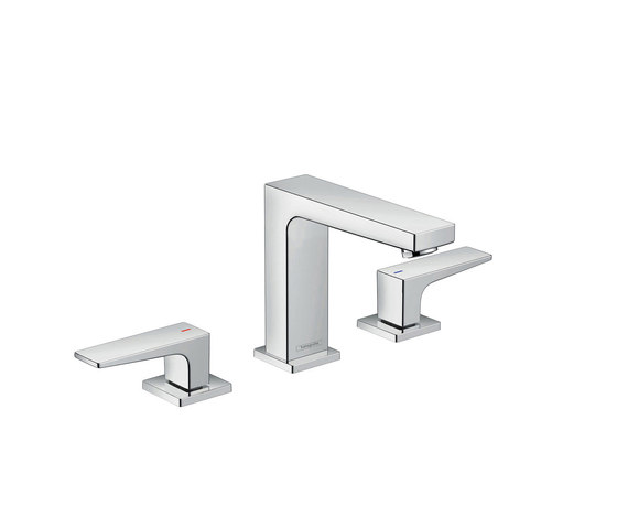 hansgrohe Metropol 3-hole basin mixer 110 with lever handles and push-open waste set by Hansgrohe | Wash basin taps